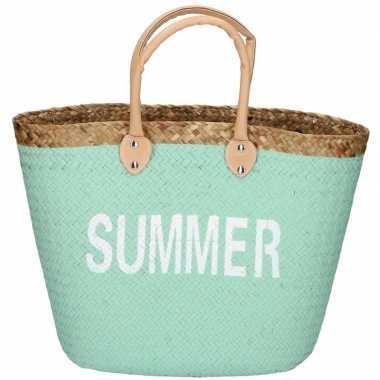 Mint rieten strandtas summer 5 liter