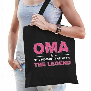 Oma the legend katoenen tas zwart voor dames