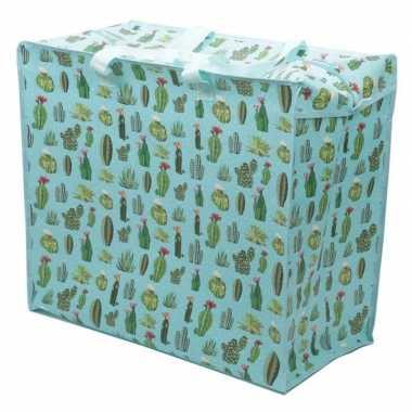 Opbergtas dekentas cactus print 55 x 48 cm