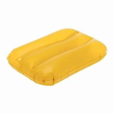 Opblaasbaar kussen geel 32 cm