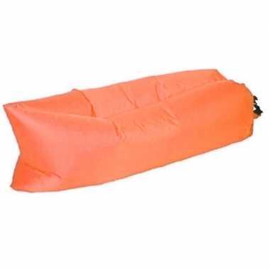 Opblaasbaar loungebed/luchtbed oranje 220 x 70 cm