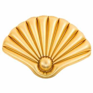 Opblaasbaar luchtbed gouden schelp 90 x 62 cm