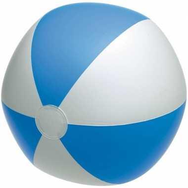 Opblaasbare strandbal blauw/wit 28 cm