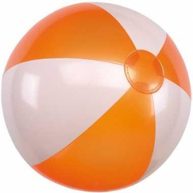 Opblaasbare strandbal oranje/wit 28 cm