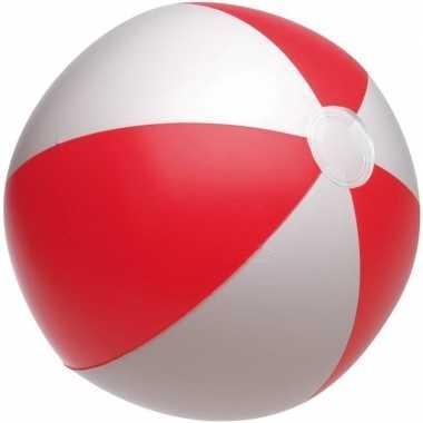 Opblaasbare strandbal rood/wit 28 cm