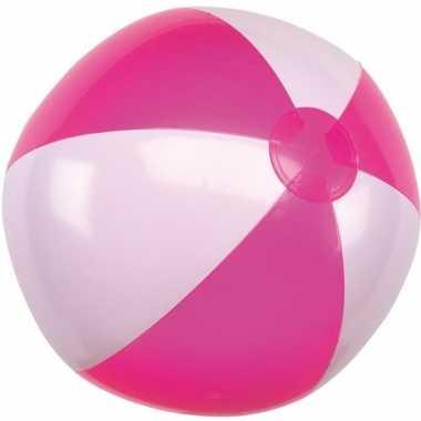 Opblaasbare strandbal roze/wit 28 cm