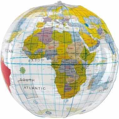 Opblaasbare strandbal wereldbol 28 cm