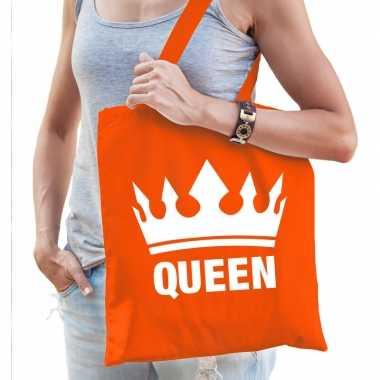Oranje koningsdag queen / kroon tasje voor dames