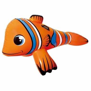 Oranje opblaasbare clown vis dieren ride-on 147cm