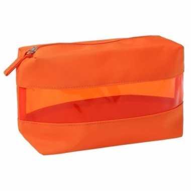 Oranje transparante toilettas 12 cm