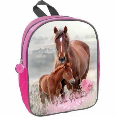 Paard met veulen rugzak/rugtas roze voor meisjes 29 x 23 x 10 cm