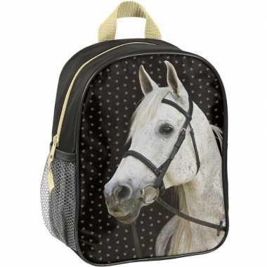 Paarden rugzak rugtas zwart voor meisjes 28 x 22 x 10 cm