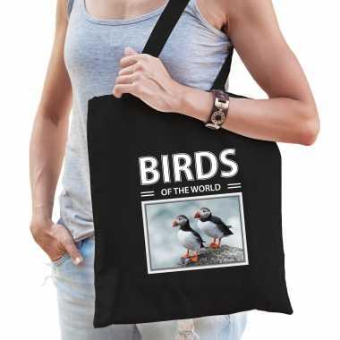 Papegaaiduiker vogel tasje zwart volwassenen en kinderen birds of the world kado boodschappen tas