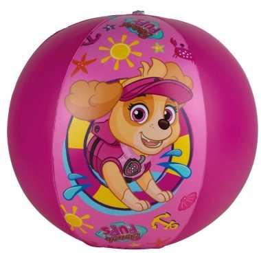 Paw patrol opblaasbare speelgoed strandbal fuchsia roze 40 cm