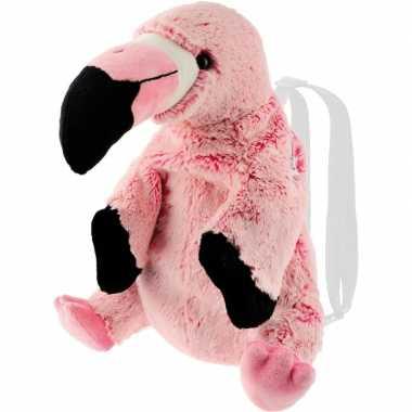 Pluche flamingo vogel rugtas rugzak knuffel 32 cm
