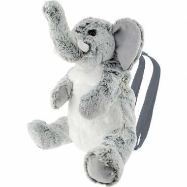 Pluche grijze olifant rugtas rugzak knuffel 32 cm