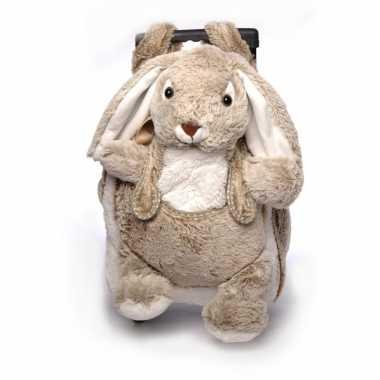 Pluche kindertrolley rugtas bruin konijn haasje 35 x 25 x 13 cm