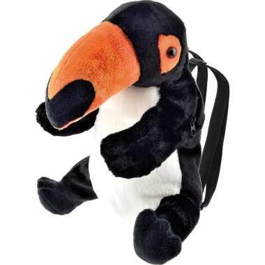 Pluche toekan vogel rugtas rugzak knuffel 32 cm
