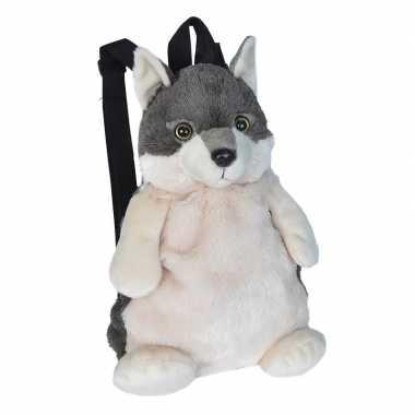 Pluche wolf rugzak rugtas knuffel 33 cm