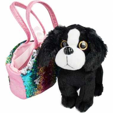 Pluche zwart witte cocker spaniel hond knuffel 20 cm in tas