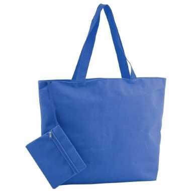 Polyester blauwe shopper/boodschappen tas 47 cm