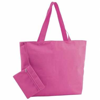 Polyester fuchsia roze shopper boodschappen tas 47 cm