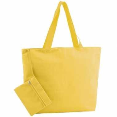 Polyester gele shopper/boodschappen tas 47 cm