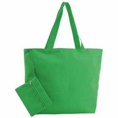 Polyester groene shopper/boodschappen tas 47 cm