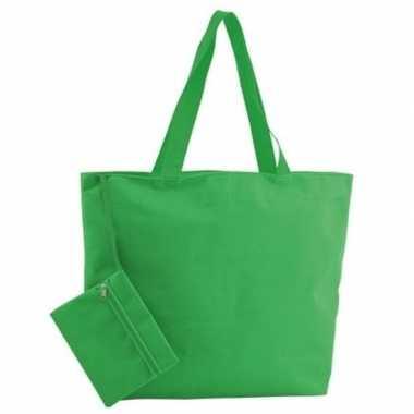 Polyester groene strandtas 47 cm