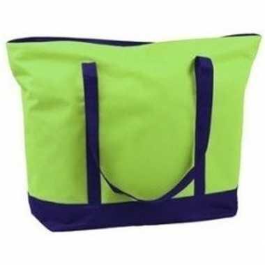 Polyester lime groene shopper/boodschappen tas 60 cm