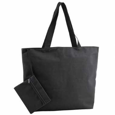 Polyester zwarte shopper boodschappen tas 47 cm