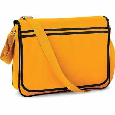 Retro schoudertas/aktetas geel/zwart 40 cm voor dames/heren
