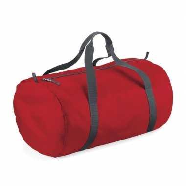 Rode ronde polyester sporttas/weekendtas 32 liter