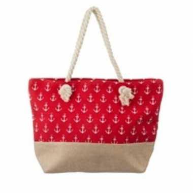 Rode strandtas met kleine witte ankers maritiem thema 50 cm