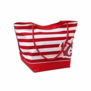 Rood witte maritiem strandtas 52 cm