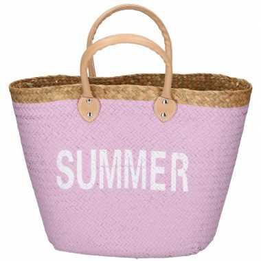 Roze rieten strandtas summer 5 liter