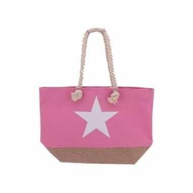 Roze strandtas met witte ster 55 cm
