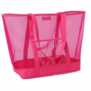 Roze transparante strandtas 38 cm