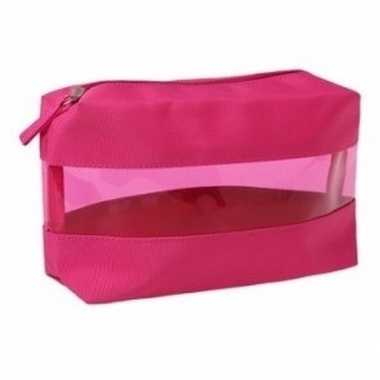 Roze transparante toilettas 12 cm