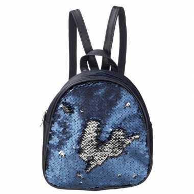 Rugzak schooltas blauw met pailletten 19 cm voor meisjes