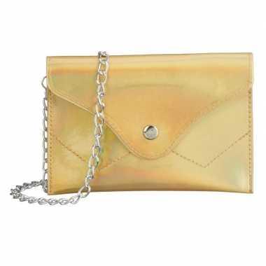 Schoudertasje/handtasje metallic goud 18 cm