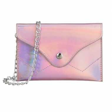 Schoudertasje handtasje metallic roze 18 cm