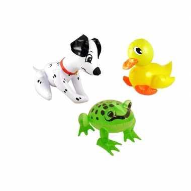 Set opblaasbare hond eend en kikker
