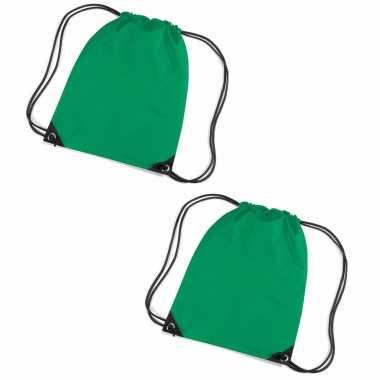 Set van 10x stuks grasgroene gymtas/ gymtasjes met rijgkoord 45 x 34 cm