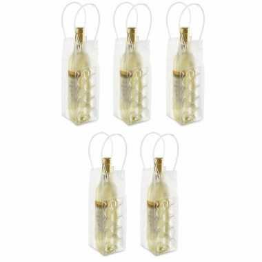 Set van 10x stuks wijnfles koeltas 25 cm