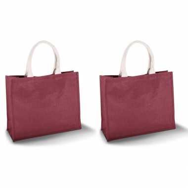 Set van 2x stuks jute rode strandtassen/boodschappentassen 42 x 36 cm