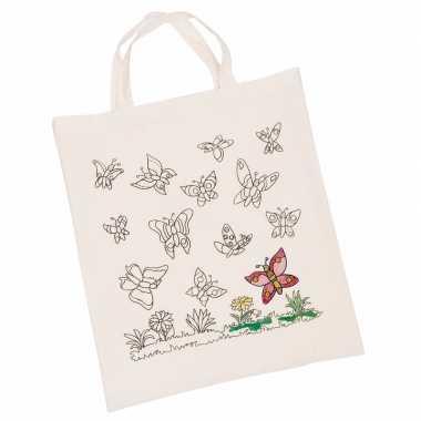 Set van 6x stuks inkleurbaar tasjes met vlinder motief 38 x 42 cm