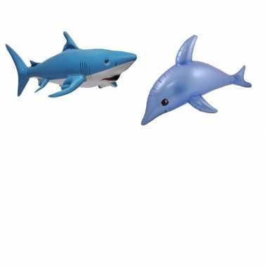 Set van opblaasbare zeedieren dolfijn en haai