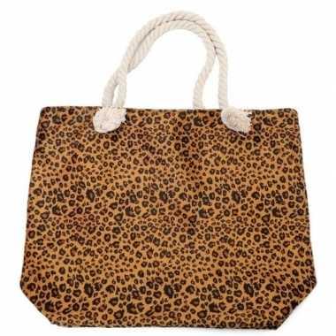 Shopper boodschappen tas luipaard panter print bruin 43 cm