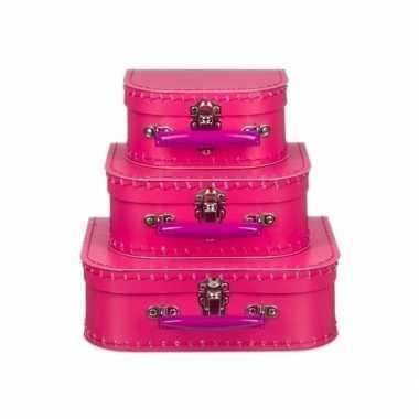 Speelgoed koffertje fuchsia roze 25 cm